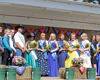 Nominees of this year's Outstanding Youth Award stand on stage during the Mahoning County Junior Fair Youth Day Ceremony on Thursday. EMILY MATTHEWS | THE VINDICATOR