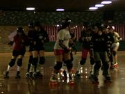 The Little Steel Derby Girls roller derby league practice at Youngstown Skate