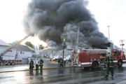 Youngstown fire crews fought a large smoky fire at Banner Supply Co., 103 E Indianola Ave.