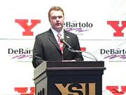 YSU's new head football coach Eric Wolford addresses the press and public Tuesday afternoon.