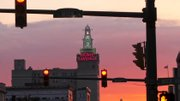 A colorful sunset in downtown Youngstown.